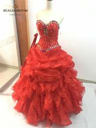 $enCountryForm.capitalKeyWord NZ - 2017 Sexy Fashion Red Crystal Ball Gown Quinceanera Dresses with Sequined Organza Plus Size Sweet 16 Dresses Vestido Debutante Gowns BQ19