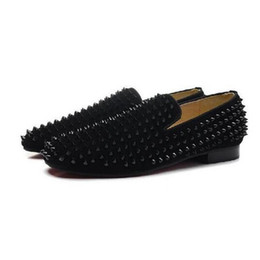$enCountryForm.capitalKeyWord Canada - Black Spikes Oxfords Shoes,Men Wedding Dress Shoes Business At Important Place,High Quality Red Bottom Flat Mens Shoes