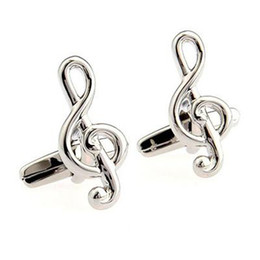 plated mens silver cufflinks 2019 - Cuff Links Music High Notes Shape Cufflinks Mens Fashion Accessories Mens Gifts Cuff-links discount plated mens silver c