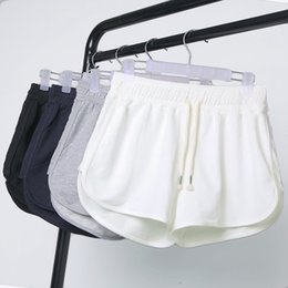 Pantalons Lâches Pour L'été Pas Cher-Shorts d'été Femmes Taille Élastique Pantalons Courts Lady Loose Couleur Solide Doux Courte Large Plage Jambe Slacks Sports Runner Mini Pantalons OOA3216