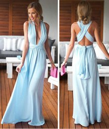 Barato Vestidos Azul Claro Sem Costas-Sexy Deep V Neck Lace A Line Prom Dresses 2017 Light Sky Blue Floor Length Backless Evening Gowns Party Dress