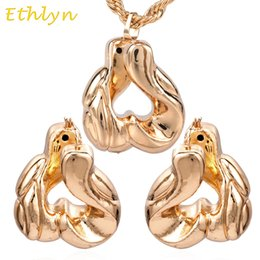 Jade Wedding Sets Australia - Ethlyn Nigerian Big Hoop Earrings& Pendant Women wedding Jewelry Sets Rose Gold Ethiopian Daily Wear Gift Wholesale Retail S043