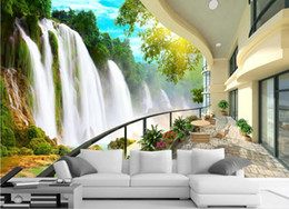 Chinese  HD Waterfall Landscape TV Wall mural 3d wallpaper 3d wall papers for tv backdrop manufacturers
