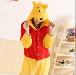 Barato Animal Onesie Adultos-Venda por atacado - New Adult Animal Winnie the Pooth Bear Cosplay Pijamas Onesie Traje de sono