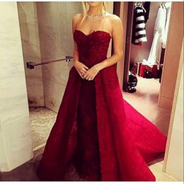 $enCountryForm.capitalKeyWord Australia - Sweetheart Sheath Prom Dresses With Detachable Train Lace Appliques Beads Red Long Special Occasion Dress Evening Wear Vestidos Party Dress