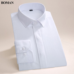 high collar dress shirts Australia - Wholesale- Spring&Autumn High Quality Men's Square Collar Dress Shirts Formal Shirts For Men Solid Color Classic Styles Work Wear