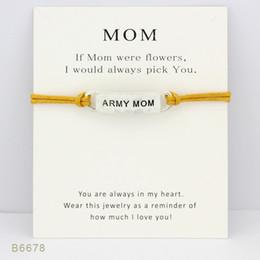 Make Friendship Charm Bracelets Canada - Silver Tone Army Mom Make a Wish Charm Bracelets & Bangles Women Girls Adjustable Friendship Statement Jewelry With Card