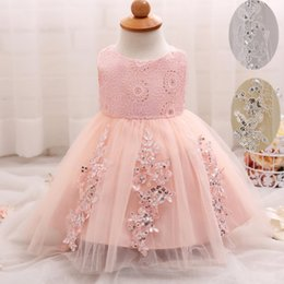 Barato Vestido Do Bebê Do Casamento-Baby Summer Frock Designs Toddler Tutu Vestidos de aniversário de 1 ano Lace Girl Party Dress Flower Girl Wedding Gown
