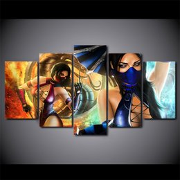 Art Canvas Prints Australia - 5 Pcs Set Framed HD Printed Mortal Kombat Movie Mask Woman Poster Picture Wall Art Room Decor Canvas Comic Modern Oil Painting
