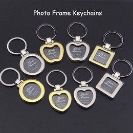 Wholesale Mini Pendant Design Photo Frame Keychains DIY Insert Photo Picture Frame Keychain Metal Zinc Alloy Keyring Key Ring Lovers Gift