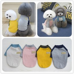 T Shirts For Dogs Wholesale Canada - New Spring Summer Dog Match Color T-shirt Cotton Leisure Coat for Small Medium Pet Dogs XXL