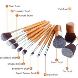 $enCountryForm.capitalKeyWord Canada - Wholesale- 11pcs Kabuki Makeup Brush Foundation Blending Blush Concealer Eye Face Liquid Powder Cream Cosmetics Brushes Kit With Bag