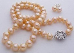 Vente en gros Boucle d'oreille collier de perles de culture akoya rose 7-8mm naturel 18