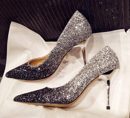 Discount gradient shoes - Shiny Gradient Bridal Shoes Sliver Gold Red Wine Pointed Toe Wedding Shoes Fashion Full Sequins High Heels