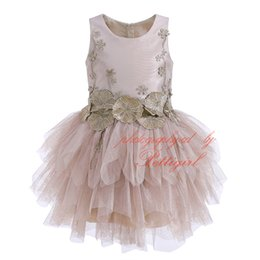 Girls embroider dress online shopping - Pettigirl Girl Ball Gown Dress Champagne Tulle Lotus Leaf Floral Embroidery Viintage Tiered Chiffon Children Party Clothing G DMGD908