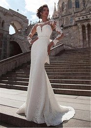 Discount v neckline mermaid wedding dress - Exquisite Tulle Jewel Neckline Mermaid Wedding Dresses With Lace Appliques Long Sleeves Beading Sash Bridal Dress vestid