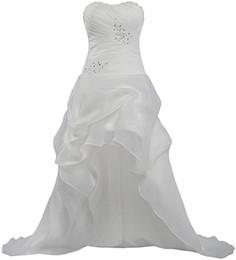 Cheap Plus Size Wedding Dresses UK - Organza White Cheap Sweetheart Lace Ball Gown 2016 Beach Wedding Dresses Wedding Guest Dress Plus Size Beading Hi-lo Dress High Quality