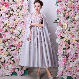 $enCountryForm.capitalKeyWord Canada - 2019 Special Occasion Evening Dress Designer Fashion Tea Length Dress Ladies With Cape Back Silver Satin