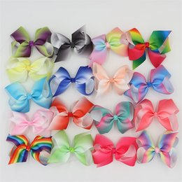 Barato Fitas De Arco-íris-XIMA 4inch 17pcs / lot Grosgrain Ribbon Hair Arcos com Alligator Hair Clips Boutique Rainbows Arcos Meninas Hairbow para Adolescentes Presente