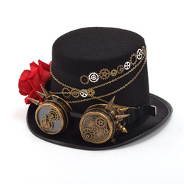 f530c4d9 1pc Vintage Steampunk Gears Glasses Deco Black Top Hat Man Woman Couple Hat  Party Gifts Fast Shipment