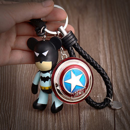 Superhero Keychains Canada - New Captain America Metal Car Keychains Key Ring Superhero Movie The Avengers Keychain Gloomy Bear Keyrings Keyfob Gift Handbags Decor