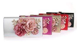 Discount chain for handbag strap - Fashion Elegant Peony Flower Pearl Clutch Banquet Bag Purse Wedding Bridal Handbag Chain strap 7 color For choose 12018