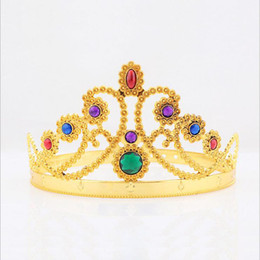 Wholesale Cosplay King Queen Crown Fashion Party Hats Tire Prince Princess Crowns Birthday Party Hat Gold Silver Colors With OPP Bags