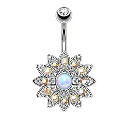China Blooming Daisy White Opal Belly Button Rings Gold Plated Surgical Steel 14G cheap plastic daisies suppliers