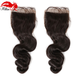 "free style part lace closure UK - Free Style Brazilian Hair Lace Closure Body Wave Bleached Knots Swiss Lace 4""*4"" Human Hair Lace Top Closure"