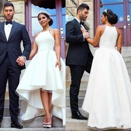 Barato Alto Baixo Vestidos De Praia Branca-Elegant Arab White High Low Wedding Dresses for Women Vestidos de noiva de praia de cetim Vestidos De Novia Plus Size Wedding Wedding Dress