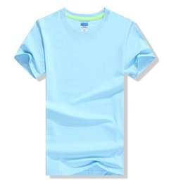 wholesale cotton shorts blank UK - Customized Men's Blue Blank cotton T Shirts Round o-neck High Quality Smooth Feeling OEM Brand Tag