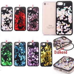 $enCountryForm.capitalKeyWord Canada - Fashion Quicksand Liquid Diamond Soft TPU PC Case For Iphone 7 I7 6 6S Plus I6 Bling Tinfoil Love Heart Star Cell Phone Skin Cover 100pcs