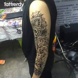 Wholesale-5pcs/lot Newest design 2016 large waterproof fake paste sticker leg painting full arm paper tattoo Sleeves on the body shoulder