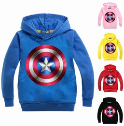 China Fashion Boys Hoodies and Sweatshirts American Captain Kids Clothes Avengers T Shirt Long Sleeves Hooded Coat Cartoon Printing supplier avengers clothes kids suppliers