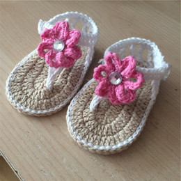 Baby Sandal Crochet Wholesale Australia - Crochet baby sandals first walker shoes infant slippers tied pearl button 0-12M cotton yarn