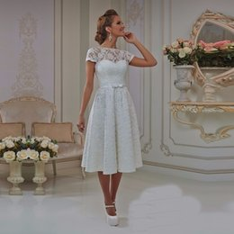cheap informal dresses NZ - Vintage Lace Short A-line Wedding Dresses Lace-Up Back Knee Length Informal Rception Bridal Gowns Boho Wedding Gowns Cheap