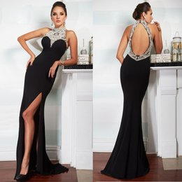 Robe De Soirée Mousseline En Cristal De Sirène Pas Cher-Elegant Mermaid Black Evening Robes Halter Off the Shoulder Chiffon Beading Open Back Design Sweep Train Prom Gowns