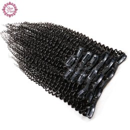 Chinese  Slove Kinky Curly Hair Clip in Human Hair Extensions 120g Set Natural Brazilian Remy 4B 4C Hair Extensions 8pcs Set For Black Woman manufacturers