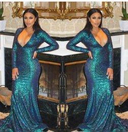 Robe De Bal Pas Cher-2017 Sexy Hot Plus Size Mermaid Prom Dress Robe de soirée Luxe Bling Sparkle Deep V-neck Blue Sequins Lace Long Evening Gown Robes de bal