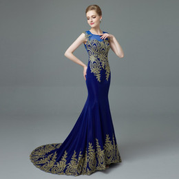 Patterned Prom Dresses Canada - 2017 New Design Gold Embroidery Mermaid Evening Dresses Black Blue Lace Evening Gowns Patterns Formal dress Long Prom Dresses
