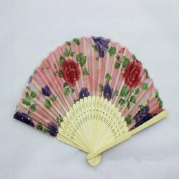 Chinese Silk folding Bamboo Hand Fan Fans Art Handmade Flower Lady Fan 21cm About Random Color from chinese lady art manufacturers