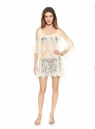 Barato Rendas Chiffon Tops Vestidos-Sexy Top Suit Beach Shirt Sexy Women Sheer Crochet Lace Bikini Coverup Split Batwing Mini Dress Black White Aqueio Wrap Dress