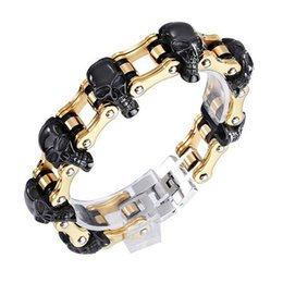 $enCountryForm.capitalKeyWord Australia - 18mm 22-23cm Boys Mens Skull Black Gold Silver Tone Bicycle Biker Motorcycle Link Chain 316L Stainless Steel Bracelet Jewelry