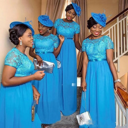NigeriaN lace weddiNg styles online shopping - Hot Sale Nigerian Style Bridesmaid Dresses Blue Lace Plus Size Short Sleeves Plus Size Wedding Guest Party Maid Of Honor Gowns Cheap