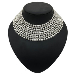 $enCountryForm.capitalKeyWord NZ - Chunky Metal Statement Necklace For Women Neck Bib Collar Choker Necklace Maxi Jewelry Golden & Silver Colors Bijoux