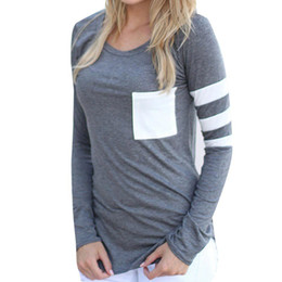 Chinese  Wholesale-Poleras Mujer 2016 Autumn Women Long Sleeve Cotton T Shirts Casual Patchwork T-Shirt Female Loose Sexy Tunics Long T-Shirt Tops manufacturers