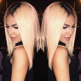 $enCountryForm.capitalKeyWord NZ - Stock ombre wig black root blonde hair silk straight heat resistant wig glueless hair synthetic lace front wig for women