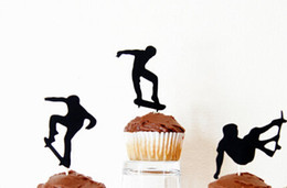 Cupcakes Toppers En Gros Pas Cher-Wholesale- Glitter Skateboard Silhouette Cupcake Toppers Événement sportif Party Picks baby shower wedding birthday toothpicks decor24pcs