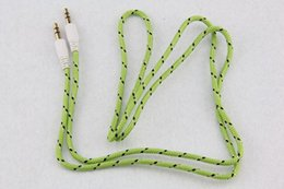 Audio Jack Lead NZ - 3.5mm Stereo Audio AUX Cable Braided Woven Fabric wire Auxiliary Cords Jack Male to Male M 1m 3ft Lead for Iphone samsung MobilePhone 500pcs