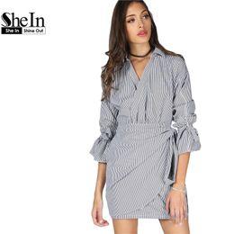 76027badbd Shein Dresses Canada - SheIn Women Casual Dress Tie Cuff Pinstripe Wrap  Dress Black and White